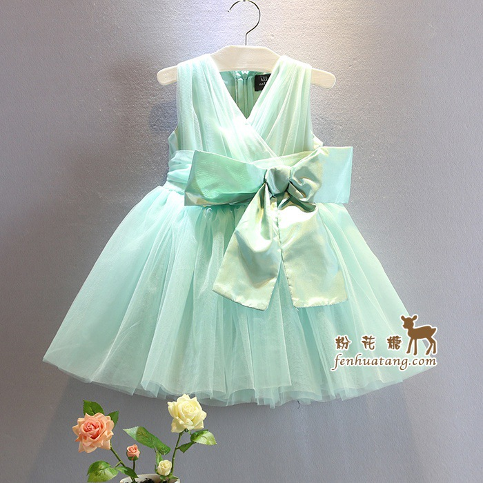 2017 summer new baby girls party dress green solid color girls wedding dress with big bow suit 2-7T kids lace robe fille enfant<br><br>Aliexpress