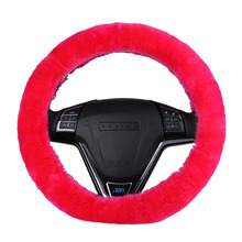 Authentic Sheepskin Car Stretch-on Steering Wheel Cover/Soft Australian Wool Vehicle braid on the steering-Wheel Protector(China)