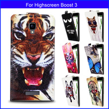 Factory price Fashion Patterns Cartoon Luxury Flip up and down PU Leather Case for Highscreen Boost 3,Free gift