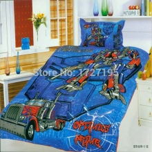 popular cotton transformers boys bedding set of twin single size duvet cover flat sheet pillow case 2/3pcs bed linen set/blue