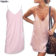 2017 New  Women Dresses Trend Clothing  Deep V-Neck Loose Pure Sexy Sleeveless Lady Backless Solid Bandage Strapless Base Dress