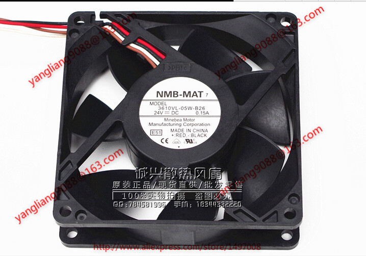 NMB-MAT 3610VL-05W-B26, E51 DC 24V 0.15A, 92x92x25mm  80mm Server Square  fan<br>