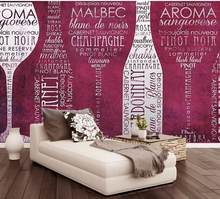 Custom 3d Mural Wallpaper European Style English alphabet wine bottle personality print Wallpaper Mural Painting For Living Room(China)