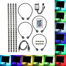 Waterproof Colour Change RGB LED Strip Light 5050 Computer TV USB Backlight Light Kit USB Power Cable With Key Controller(China)