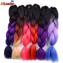 AliLeader Hair Products Kanekalon Jumbo Braid 5 Pieces Lot, Black/Pink/Purple/Silver/Gray Ombre Xpression Braiding Hair 32 Color