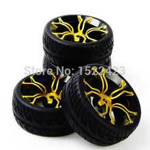 Rc Car Tires Rubber Tyre & Wheel Rim Model Toys 4PCS Tires and Wheels For HSP HPI RC 1:10 Flat   Racing On Road Car PP0150+MPNKG