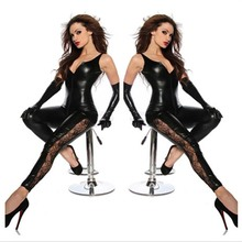 Buy Faux Leather Dress Erotic Latex Skirt Lace Bodysuit Stripper PVC Catsuit Women Dress Fetish Role Play Costumes