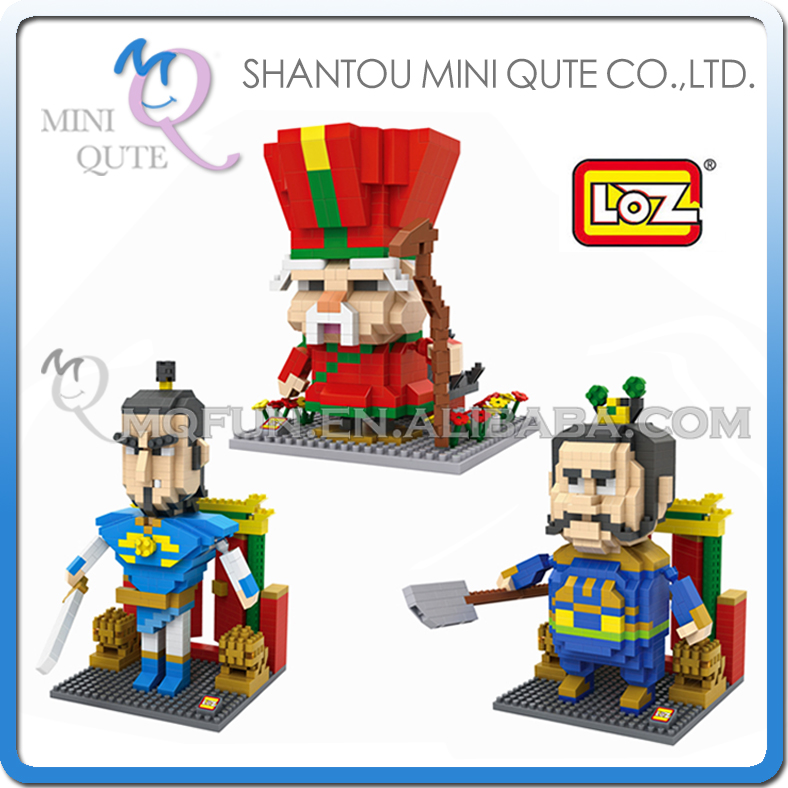 3pcs/lot Mini Qute WTOYW LOZ Kawaii cartoon Chinese Little Door Gods Plastic Building Block Brick action figures Educational Toy<br><br>Aliexpress