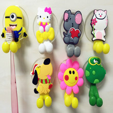 Multifunctional Cute Cartoon Minion Kitty suction cup Toothbrush Holder Hooks Bathroom Accessories 24 Colors Free Shipping(China)