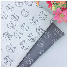 Diy Fabric Manual bag Cloth Cute Cat Head Gray Cotton Fabric For Sewing Patchwork Fabric Textile Tilda Doll Body Cloth Syunss