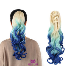 "New Arrival 20"" 50cm Clip On Claw Hair Extensions False Hair Tail Synthetic 180g Hairpiece Wavy Ponytail A9 Blue Ombre 3 Tone"