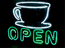 "NEON SIGN For COFFEE SHOP OPEN Signboard REAL GLASS BEER BAR PUB display christmas Light Signs 17*14""(China)"