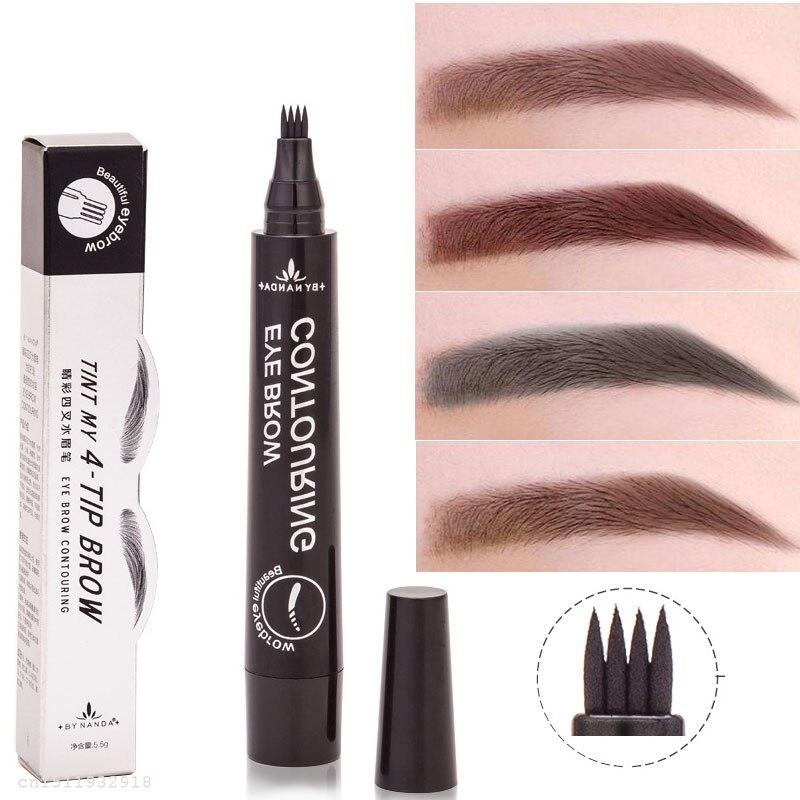 PRO Micro Fork tip Eyebrow Tattoo Pen 4 Head Fine Sketch Liquid Eyebrow Pencil Waterproof Henna Eyebrow Enhancer Dye Tint Pen