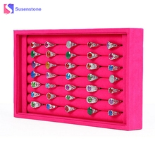 Jewelry Rings Display Velvet Earrings Ring Organizer Ear Studs Jewelry Display Stand Holder Rack Showcase About 50 Slot Case Box(China)