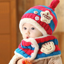 Baby Winter Knitted Hat Scarf Set Kids Warm Beanies Caps for Children Crochet Patterns Boys Girls Baby Clothes Accessories W1