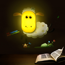 Cartoon Animal Sheep Dolphin Light Control Baby Night Lights Toddler Home Decor LED Sensor Night Lights With Wall Stickers