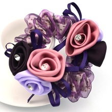 1Piece Hair Accessories for girl & women 3D rose Hair Rope Super Elastic Headbands Floral Ponytail Scrunchie high quality(China)