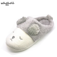 Whoholl Cute Sheep Animal Women Home Slippers for Girls Ladies Indoor Bedroom Cotton Female Shoes Winter Soft Bottom Flats Lover(China)