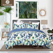 Naturelife Microfiber Duvet Cover Set Leaf Printed Bedding Set Bedsheet Pillowcase Duvet Cover Bed Quilt Bedlinen Bedclothes(China)