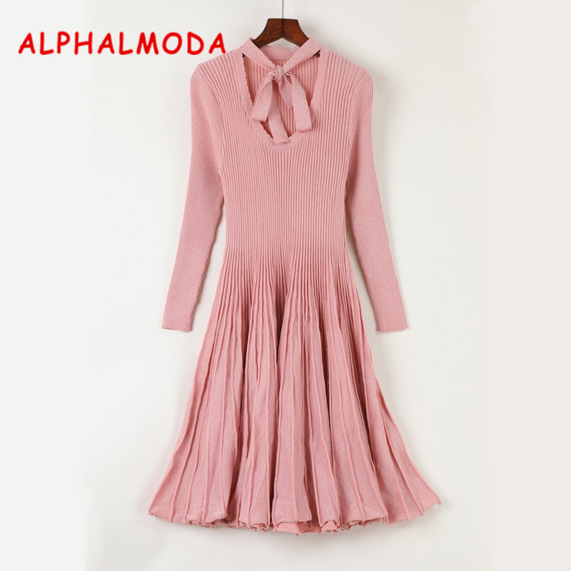ALPHALMODA 2017 Womens Flounced Knitted Sparkling Dress Long-sleeved Bow Collar Slim Graceful Pleated VestidosÎäåæäà è àêñåññóàðû<br><br>