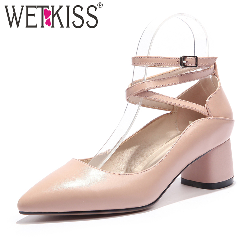 WETKISS Cross Tied Women Pumps Square Heels Buckle Strap Pointed Toe Shallow Footwear Spring Fashion Genuine Leather Ladies Shoe<br>