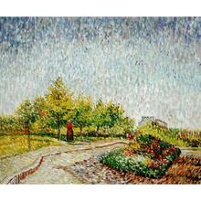 Stretched Oil painting pictures Lane in the Argenson Park at Asnieres Spring canvas Vincent Van Gogh wall art modern home decor(China)
