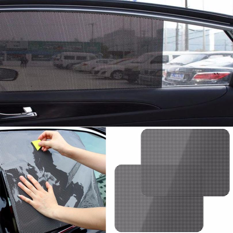 2pcs Black Car Rear Side Window Sun Shade Static Cling Visor Screen Shield