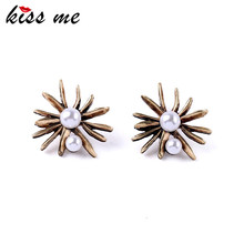 Royal Style Ladies Simulated Pearl Jewelry New Design Retro Flower Women Nightclub Earrings Factory Wholesale(China)