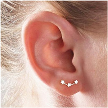 Women Tiny Star Tiny Star Fashion Jewelry Cute Stainless Steel Long Cutting line ear piercing Star Earrings For Girl Gift e051