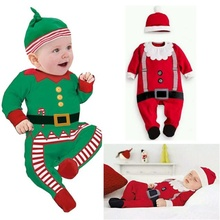 New Christmas clothes baby rompers Boy Girl Kids Romper Hat Cap Set santa claus baby costume Christmas Gift newborn best love(China)