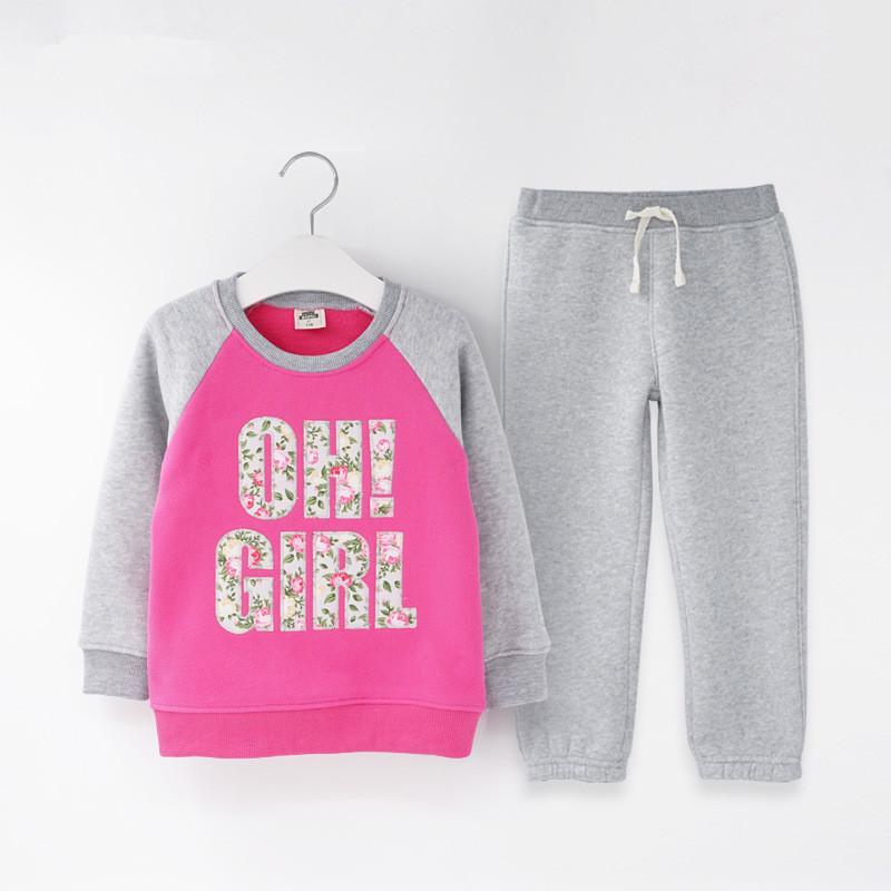 Autumn winter girls clothing set letter printed kids suit set casual 2pcs fleece sport suit for boys tracksuit children clothing (14)