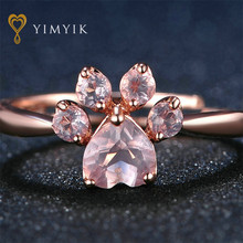 YimYik 925 Sterling Silver Ring Fine Jewelry Rose Gold Romantic Wedding Bear's Paw 5mm 100% Natural Pink For Love Vijay BH(China)