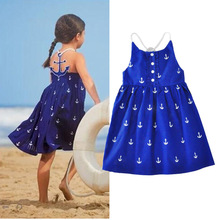 2017 Summer New Sleeveless Vest Girls Dresses Anchor Print Cotton Bohemian Beach Girl Sun Dress Crew Neck Brief Girls Dress SX02