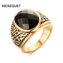 Meaeguet BIG Black Onyx Ring Fancy Cut Gem Gold-Color Rings Party Gent's Jewelry Gift Size 9 to 11