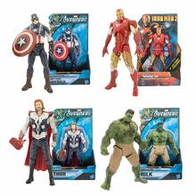 1pcs Superheroes Marvel The Avengers Captain American Hulk Iron Man Thor PVC Action Figure Toys Dolls Collection With OPP Bag