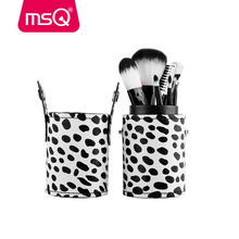 MSQ Milky Mini 8pcs Travel Makeup Brushes Set Soft Synthetic Hair Foundation Powder Blush Eyeliner Tool With PU Leather Cylinder(China)