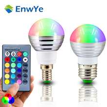 EnwYe E27 E14 LED RGB Bulb lamp AC110V 220V 3W Spot light dimmable magic Holiday RGB lighting+IR Remote Control 16 colors(China)