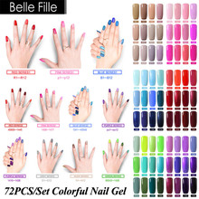 Belle Fille 10ml 72 Color Nude Green Red Pink Purple Nail Gel Polish Holographic Glue Acrylic Liquid Art Decoration Makeup Tools(China)
