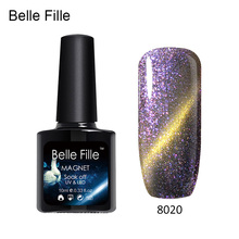 Belle Fille UV Gel Cat EYE Chameleon Nail Gel Phantom Varnish Long Lasting Soak off Nail Gel Polish Color Need Magnet 10ml(China)