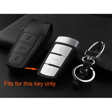 3 Buttons Remote Key Fob Holder Shell Cover Case Leather With Keychain Keyring Fit For VW Passat CC Magotan
