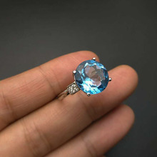 TBJ,Natural swiss blue topaz round12mm 6.5ct big topaz Ring in 925 sterling silver gemstone jewelry with gift box