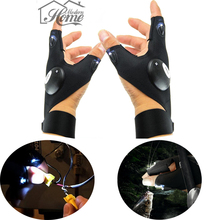 Outdoor Fingerless LED Gloves Fishing Magic Strap LED Flashlight Torch Camping Hiking Light Left Right Hand Luminous Gloves DIY(China)