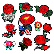 1 Pcs Top Patches Red Rose Flowers Patch 3D Sticker Embroidery Motif Sequined Applique Badge Children Women DIY Clothing Patch