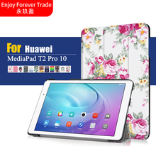 Ultra Thin Slim Magnetic Closure Print Folio Stand PU Leather Cover Case For Huawei MediaPad T2 Pro 10 FDR-A01W FDR-A03L Tablet