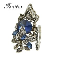 FANHUA 2pcs/set Vintage Accessories  Jewelry Antique Silver Color Blue Crystal Flower Butterfly Finger Ring For Women Wedding