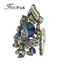 FANHUA 2pcs/set Vintage Accessories Jewelry Antique Silver Color Blue Crystal Flower Butterfly Finger Ring For Women Wedding(China)