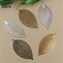 BoYuTe 10Pcs 75*35MM Big Brass Filigree Leaf Charm 5 Colors Plated Diy Etched Sheet Pendant Charms for Jewelry Making