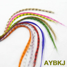 10pcs/lot 16 inches/40cm + free beads Women's Straight Multicolour Grizzly synthetic Feather hair extensions(China)