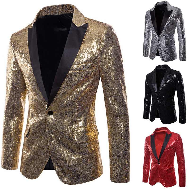 NIBESSER Mens Shiny Blazers Gold Sequin Glitter suit Jackets Men Nightclub  One Button Suit Blazer Men ae30bbbbd7cb