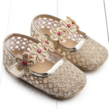 BornToGirl Baby Girl anti-slid toddler Hollow sequins bling shoes bebe soft bottom infant babi shoes new born First walkers(China)